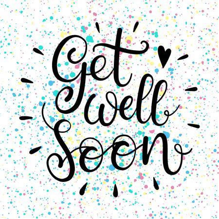 Get well soon tekst. Belettering voor de uitnodiging en wenskaart, posters en prints. Modern kalligrafische design Stockfoto - 61036657