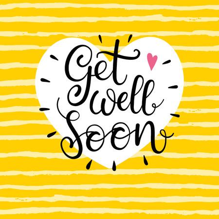Get well soon Text. Beschriftung für die Einladung und Grußkarte, Poster und Kunst. Moderne kalligraphische Design Standard-Bild - 61036656