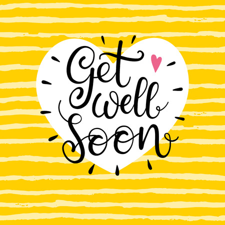 Get well soon text. Lettering for invitation and greeting card, prints and posters. Modern calligraphic design
