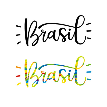 brasil: Brasil word in black and color variations. Lettering for invitation and greeting card, prints and posters. Modern calligraphic design