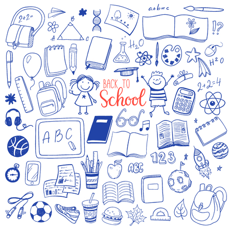 girl with phone: Back to school hand drawn sketch icons set. Illustration