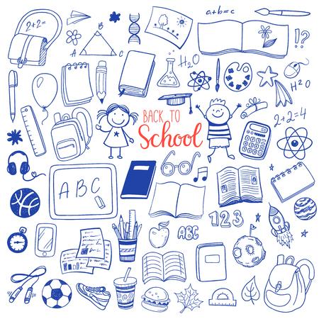 Powrót do strony szkolnej rysowane zestaw szkic ikony. Ilustracje wektorowe