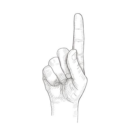 finger index: Sketch hand. illusthation with index finger gesture