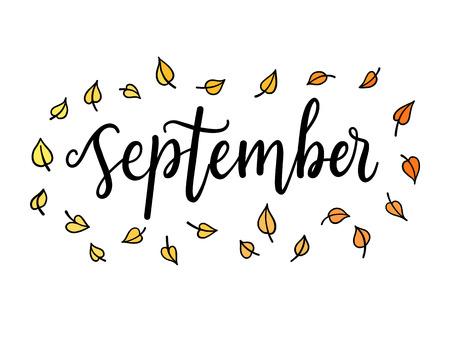 Bonjour Septembre, le lettrage mot calligraphique. modèle de carte de voeux, illustration avec des mots sur typographic automne