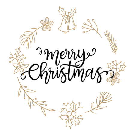phrase: Merry Christmas phrase. vector greeting card with hand written calligraphic phrase