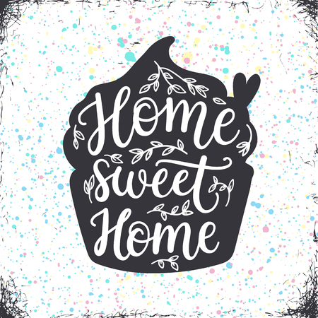 curly: Home sweet home, hand lettering poster.