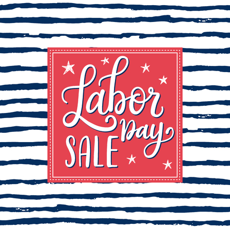 national holiday: Vector Illustration Labor Day a national holiday of the United States. American Happy Labor Day Sale design poster with hand written calligraphic phrase.