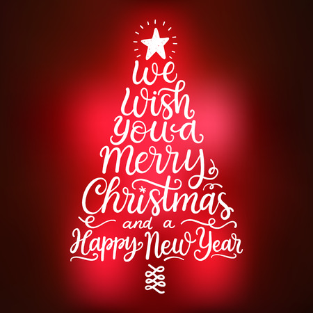 We wish you a Merry Christmas and a Happy New Year. Hand drawn lettering, winter holidays greeting card Vectores