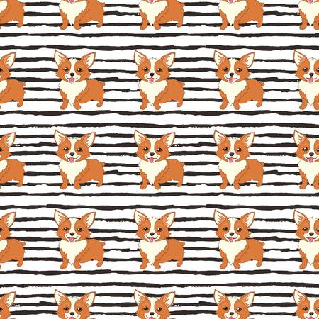 pembroke welsh corgi: Cute welsh corgi dog vector seamless pattern Illustration