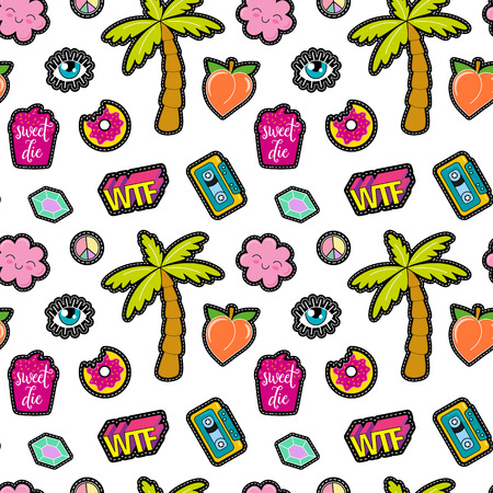 denim jacket: 80s Fashion vector seamless pattern with pop art patches, pins, badges and stickers