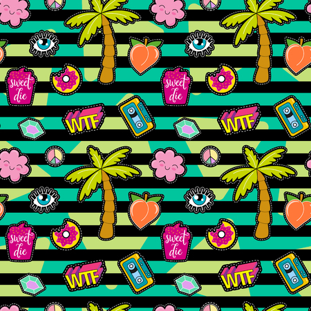 wtf: 80s Fashion vector seamless pattern with pop art patches, pins, badges and stickers