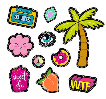 pin: 80s Fashion vector pop art patches, pins, badges and stickers Illustration