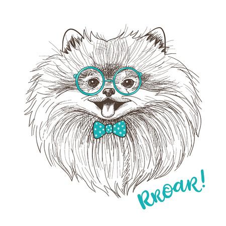Ilustración del vector esbozo de un poco de Pomerania lindo con el arco y las gafas redondas. diseño de la impresión del perro de moda. cara sonriente del perrito de Pom Ilustración de vector