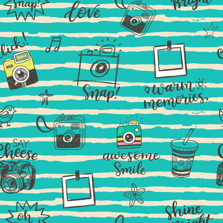 phrases: Seamless pattern with hand drawn doodle sketch photocameras and photographic phrases Illustration