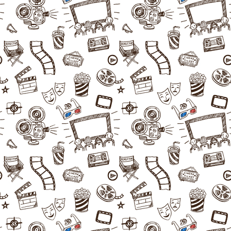 cinematographer: Hand drawn cinema doodle seamless pattern background
