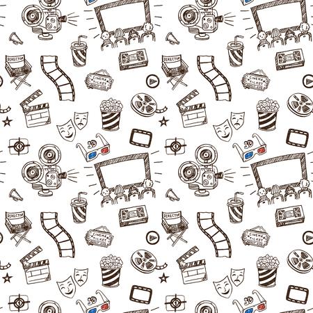 cinematographer: Hand drawn cinema doodle seamless pattern background