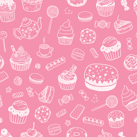 Set of various doodles, hand drawn sweets, cupcakes and candies sketches seamless surface pattern Vettoriali