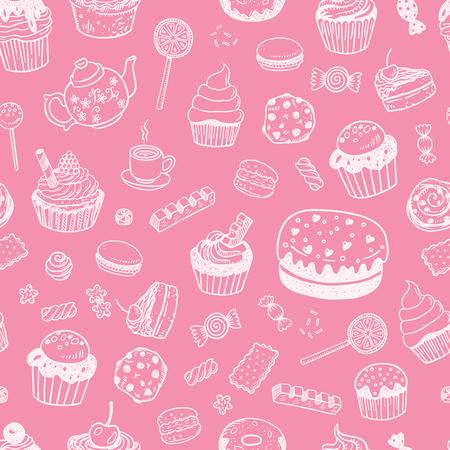Reeks diverse krabbels, hand getrokken snoepjes, cupcakes en suikergoed schetst naadloos oppervlaktepatroon Stockfoto - 64462318