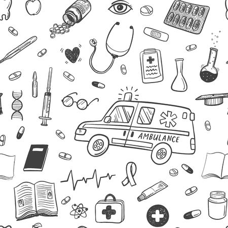 drugstore: Hand drawn healthcare and medicine doodle icons seamless pattern Illustration