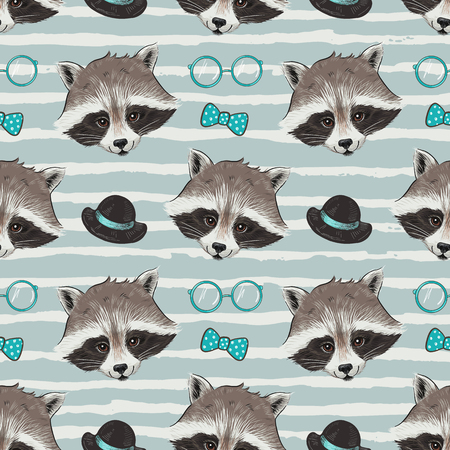 fashionable: Seamless vector pattern with fashionable mister raccoon.