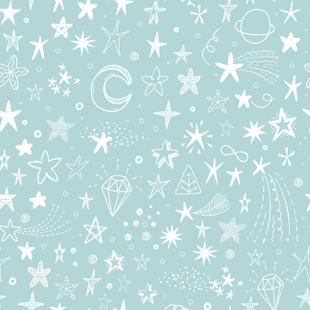 star background: Cute vector background with hand drawn doodle funny stars, comets and moon