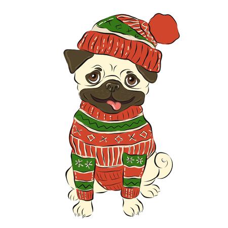 Happy winter pug dog, vector illustration Illustration