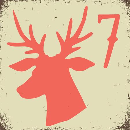 Christmas advent calendar set. Printable card. Illustration