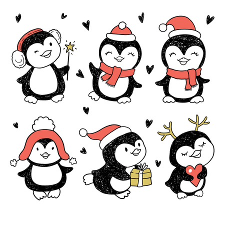 white winter: Winter Holidays cute vector penguins set