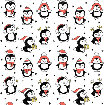 white winter: seamless pattern with Winter Holidays cute vector penguins set