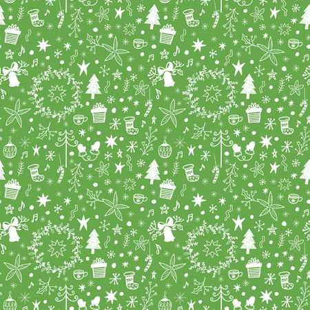 Seamless Christmas vector pattern with holidays decorations