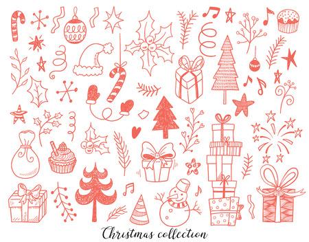 Ensemble d'illustration vectorielle dessinés à la main du nouvel an et des signes de signe et symbole de Noël. Motif serti de bonhomme de neige, sapins, flocons de neige, gâteaux, coffrets cadeaux. Banque d'images - 67387488