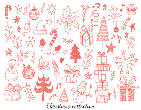 Hand drawn vector illustration set of New year and Christmas sign and symbol doodles elements. Pattern set with snowman, fir-trees, snowflakes, cakes, gift boxes. Illustration