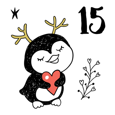 countdown: Christmas advent calendar set. Printable card. Illustration