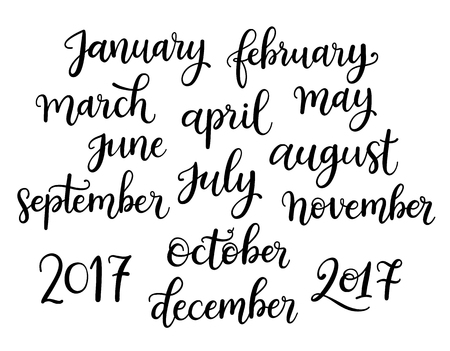 august: Trendy hand lettering set of months of the year words. Brush handwritten names of months.