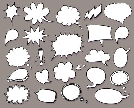 says: Hand drawn vector sketch speech bubbles set Illustration