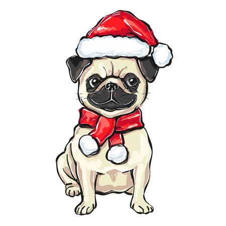 funny Christmas pug dog in Santa hat, vector illustration