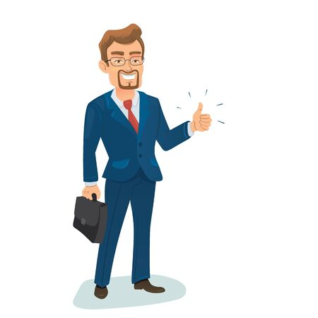 successfull: Vector illustration with isolated standing successfull young businessman