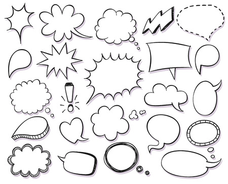Hand drawn vector sketch speech bubbles set Vettoriali
