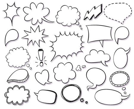 Hand getrokken vector schets tekstballonnen te stellen Stock Illustratie