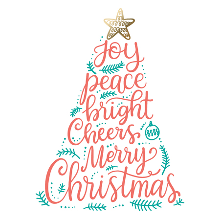 Merry Christmas phrases, hand lettering greeting card