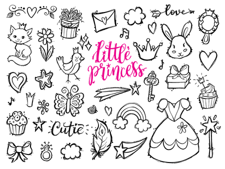 princess dress: Little princess funny graphic set. Girls dress, flowers, clouds and rainbow, bird, butterfly, mirrow, sweets, gifts, diamond ring, hearts and stars. Isolated elements on a white background. Illustration
