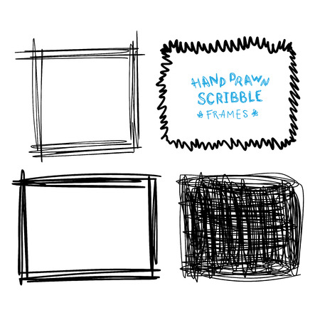 Set of hand drawn scribble frames, vector design elements collection. Illustration