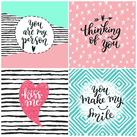 make my day: Valentine lettering love collection. greeting cards with beautiful text about love. Perfect for valentine day, wedding and birthday holidays