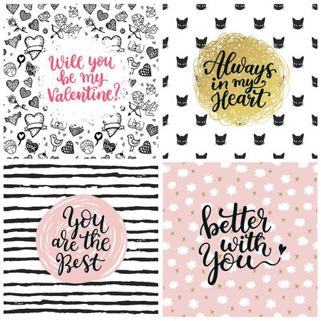 animal print: Valentine Love Collection letras. tarjetas de felicitación con el texto hermoso sobre el amor. Ideal para las vacaciones del día de San Valentín, bodas y cumpleaños