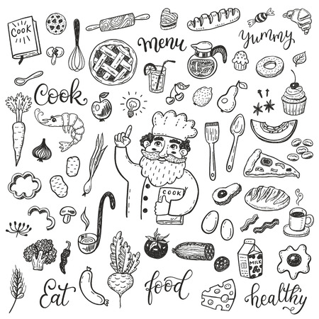 shrimp cocktail: Hand drawn doodle food set with chief cook.