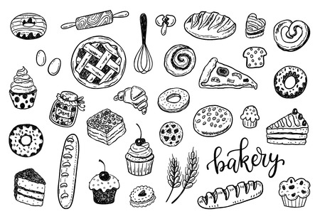 Hand drawn sketch bakery set. Food, cooking, sweets, pastry design Vettoriali