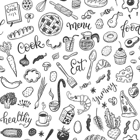 Vector pattern with hand drawn doodle food set. Çizim