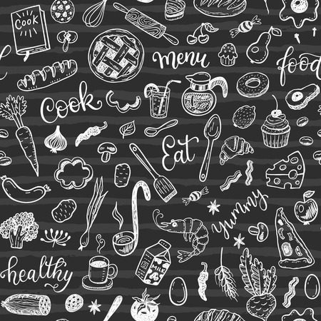 shrimp cocktail: Seamless vector pattern with hand drawn food on a chalkboard background Illustration