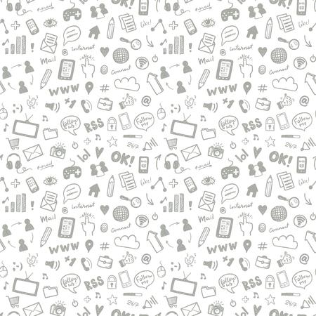 Social media sketch vector seamless doodle pattern  イラスト・ベクター素材