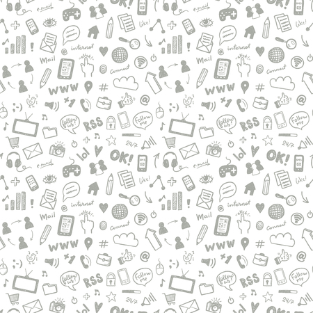 Social media sketch vector seamless doodle pattern Çizim